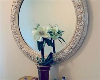 Hall mirror w/ mounted table.