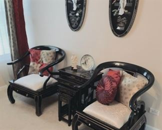 Pr. Chinese blk. lacquer chairs with Buda legs.