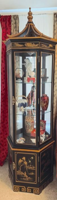 Painted Pagoda curio cabinet. Asian collectables.