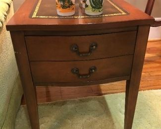 Pair of Leather Top End Tables