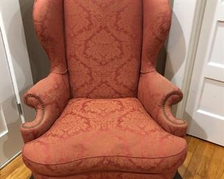One of a Pair of Wing Back Chairs