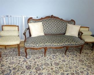Antique Setee and Two (2) chairs with pillows