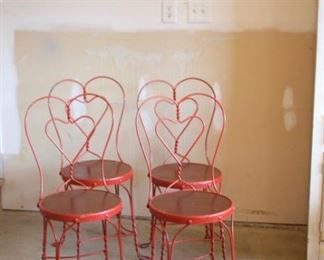 red ice cream parlor chairs