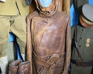 Leather pilot uniform