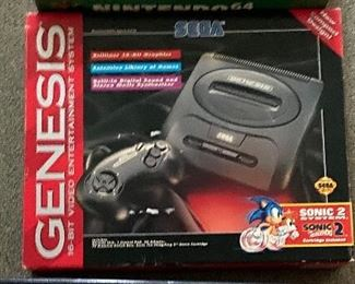 Sega Genesis 16-bit Entertainment Sonic 2 System.                     in its original box, Sonic 2 Hedgehog Game included $75