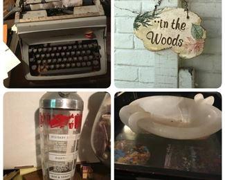 Vintage typewriter, cute sign, vintage cocktail shaker, alabaster ash tray