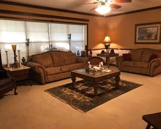 Leather/Suede Sofa & Loveseat