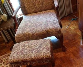 41   large paisley  chair  and  hassock  Price  for  both  is  295.00