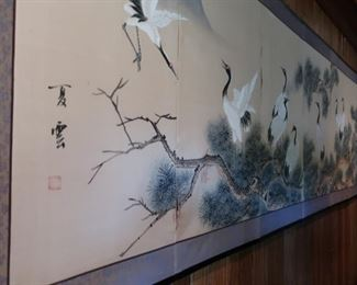 "45  wall screen  with  birds  the  length  is  9""    Price  is 175.00"