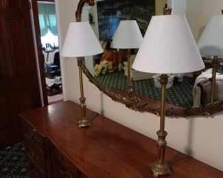 71.  pair  of goldtone  lamps   Pair  is  priced  at  100.00