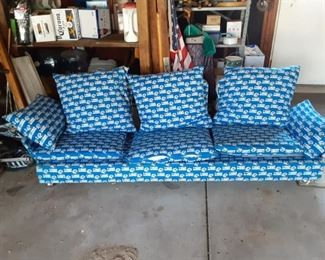Detroit Lions Football Upholstered Fabric Sofa