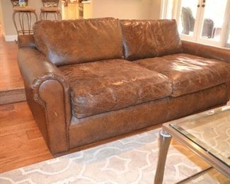 "7. Lot F7 (0012.jpg)  – Leather Sofa Restoration Hardware 80"" wide (long) x 44"" deep x 23 ½"" high side x 31"" high back"
