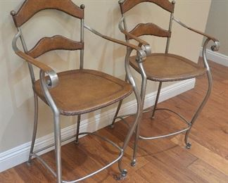 "20. Lot F20 (0031.jpg 0032.jpg) – $ - Pair Bar Stools - High End Leather and Wrought Iron Bar Stools. Hand Made. 41"" high back x 24"" high – Seat- 17 ½"" x 17"""
