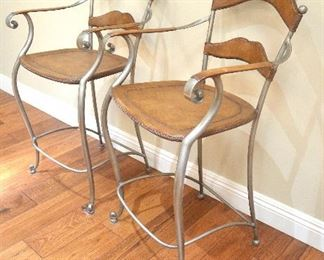 "20. Lot F20 (0031.jpg 0032.jpg) –  - Pair Bar Stools - High End Leather and Wrought Iron Bar Stools. Hand Made. 41"" high back x 24"" high – Seat- 17 ½"" x 17"""