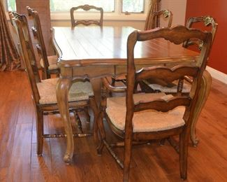 "21. Lot F21 (0034.jpg to 0042.jpg)  - Dining Room Table With 6 Chairs (2 Captain) with Extra Leaf and Drawers on Both Ends. Table: 78"" Long x 46"" wide, 98"" Long with the Extension Leave (seats more than 6 people). Chairs: 41"" High Back, Wide 21"" x 18"" Seat."