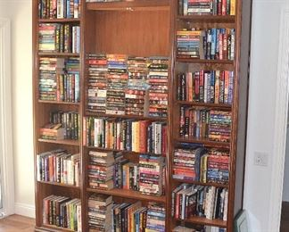 "30. Lot F30 (0063.jpg) - Solid Wood Bookcase with Lights. (Custom Made). 8 feet – 96"" High x 74"" Wide x 12.5"" Deep (books are not included)"