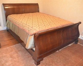 "33. Lot F33 (0070.jpg 0071.jpg) - $450.00 – Queen Size Wooden Bed by Thomasville Sleigh 98"" x 65"". Headboard 44"", Foot Board, Frame. (Cover, Mattress not included)."
