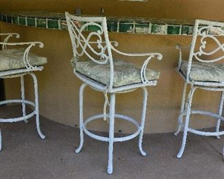 "41. Lot F41 (0092.jpg)  – 3 pc. Tropitone Cast Aluminum Bar Stools with Pillows. 45"" High, 22"" wide."