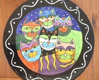 "81. Lot S81 (0156.jpg  - Large 16.5"" Ceramic Platter Cat Pattern Hand Painted by Milson & Louis"