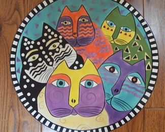 "80. Lot S80 (0155.jpg) - Large 16.5"" Ceramic Platter Cat Pattern Hand Painted by Wilson & Louis"