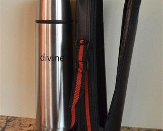 "92. Lot S92 (0175.jpg)  – ""divine"" Thermos with Holder 10"" High"