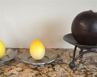"95. Lot S95 (0180.jpg  – 3 Metal candle Holders. Large (Canon) – 6 ½"" High and 2 Holding Eggs like Candles."