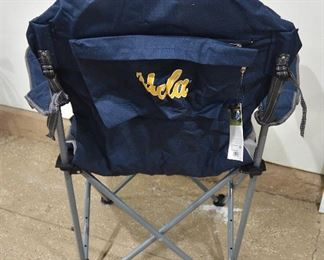 165. Lot F165 (0304.jpg 0305.jpg) -$30.00 - Portable Folding Chair with Storage Tote – Reclining Camp Chair by Pacific Time. Blue/Gray with Cup Holder. Model 803-00. USLA on the back.