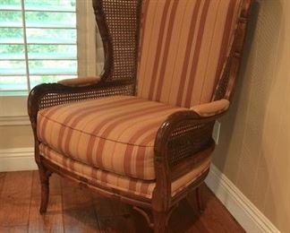 "5. Lot F5 (0009.jpg 0010.jpg)  - Ethan Allen - Rattan Cane Side Wing Chair Faux Bamboo.  40"" H x 30"" W x Back top from seat 28 ½"" High"