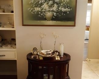side table and picture
