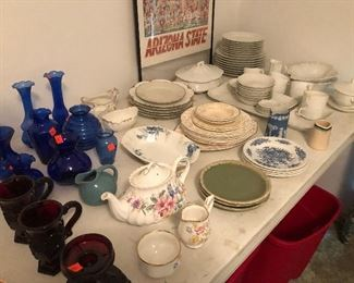 China set and blue glassware