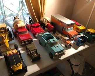 Buddy L, Tonka, Structo and Erte diecast  trucks.