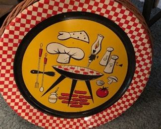 Metal mid century tray for the barby