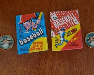 1970 Topps baseball pack with metal insert, 9 available  These packs have been previously opened