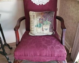 Burgandy Walnut Claw Footed Arm Chair w/ Decorative Doilly and Pillow