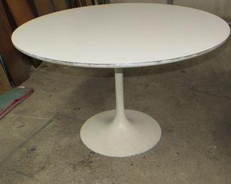"ITEM 5 - Saarinen style tulip base table with laminate top. has  edge wear , paint loss on base. 47 1/2""diameter top 29"" high  $250.00"