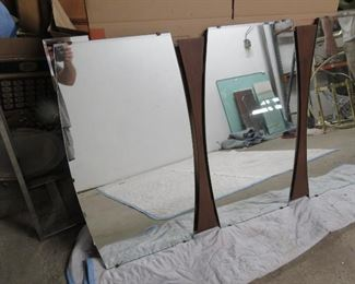 """ITEM 8- -  3 section MCM beveled glass and walnut mirror.62 1/2"""" wide 36"""" high. $125.00"""