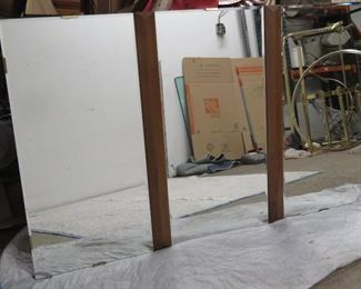 """ITEM 9--- 3 section MCM beveled glass and walnut mirror. Has small chip in top left corner.  60"""" long, 36"""" high $100"""