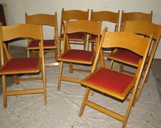 """ITEM 21---MCM set of 8 folding chairs with red vinyl seats. 30"""" high, 17"""" wide, 19"""" deep.  $200.00"""