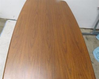 Large Walnut table with metal base, signed steelcase   pic 2