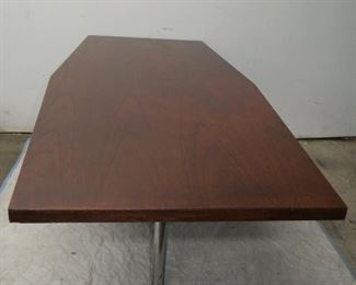 """ITEM 23--Large Walnut table with chrome legs. 78 1/4"""" long,  30"""" at ends tapered to 36"""" wide in center, 29"""" high. has some nicks , scratches.   $450.00"""
