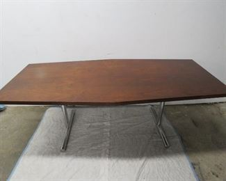Large Walnut table with chrome legs pic 2