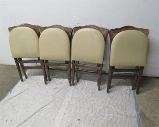 Set of 4 provincial cane back folding chairs pic 2
