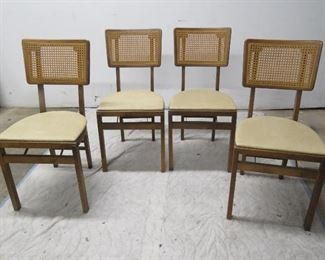 Pic of chairs from. MCM cane back set of 4 folding chairs and vinyl top folding table  PIC 2
