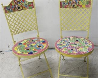 ITEM 29--pair of iron and mosaic tile folding chairs. $100.00