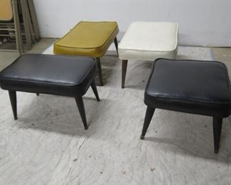 """ITEM 32--4 MCM ottomans. white is 24"""" long, 16"""" wide, 13.5"""" high.  $250.00"""