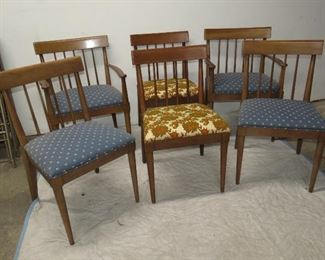ITEM 52-- set 6 mcm cherry dining chairs.4 with matching finish 2 with darker finish. $150.00