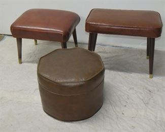"""ITEM 38--   MCM 2 ottomans and hassock. 17.5"""" long,13.5"""" wide,17' high,     hassock 16"""" octagonal, 12' high.  $150.00"""