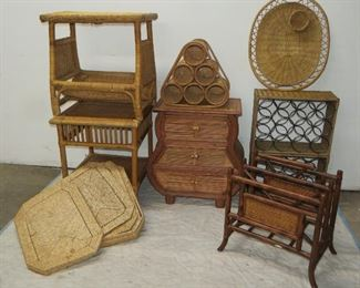 ITEM 35 --- 8 piece wicker and rattan lot, table 3 drawers,wine racks, tables  $100.00