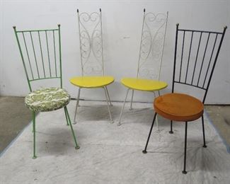 ITEM 40-- -4 MCM  iron chairs. {missing brass finial white chair]          $150.00
