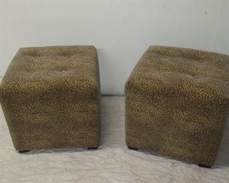 ITEM 43-- pair ottomans with exotic animal print , small rip in corner  $ 80.00